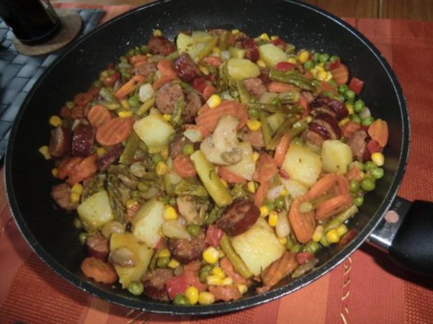 Bunte Gemüsepfanne mit Cabanossi - Rezept - Bild Nr. 4