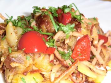 Bratkartoffeln mit Paprika und Fleischwurst - Rezept
