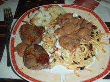 Schweinemedaillons mit Pilzsauce Spätzle und Blumenkohl - Rezept
