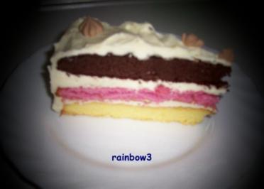 Rezept: Backen: Dreifarbige Geburtstags-Buttercreme-Torte