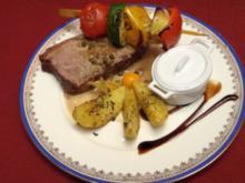 In Fleur de Sel mariniertes Roastbeef a la plancha mit Kartoffelspalten und Gemüse - Rezept