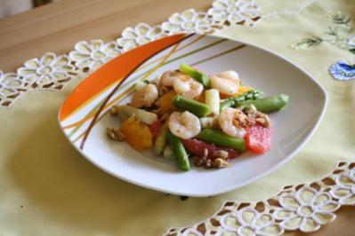 Salat: Spargelsalat mit Garnelen,Orange und Grapefruit - Rezept