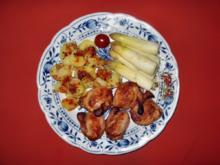 Spargelspitzen und Frühkartoffeln mediterran geschmort - Rezept