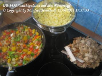 Fleisch – Schichtgulasch aus dem Römertopf - Rezept