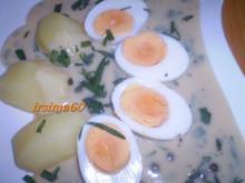 Eier in Estragon - Senf - Sahne -Soße - Rezept