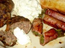 Fleisch/Rind - Köfte an Zitronenrahm mit Bohnen im Schinkenmantel - Rezept