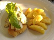 Krüstchen mit Spargel und Champignon-Hollandaise überbacken - Rezept
