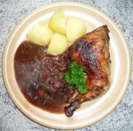 Coq au vin, Hühnchen in Rotweinsauce - Rezept