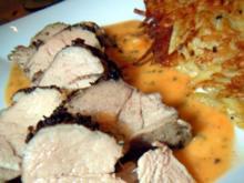 Niedrig gegartes Schweinefilet mit Aprikosensauce und Rösti - Rezept