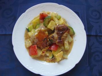 Fleisch: Überbackenes Schweinefilet auf Gemüsebett - Rezept