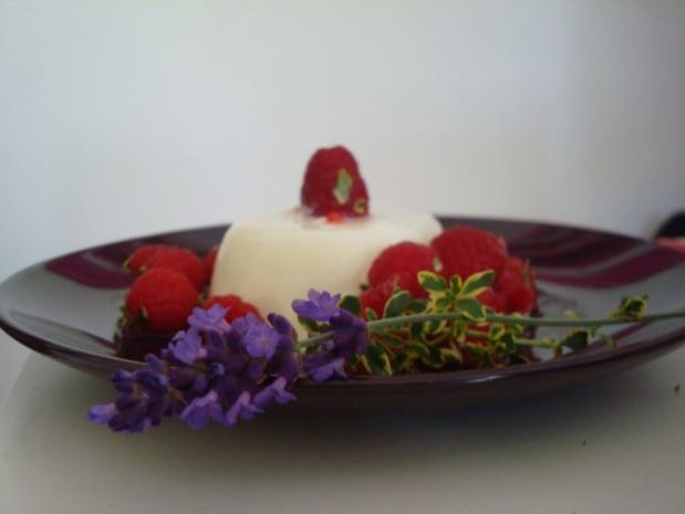 Rosmarin-Lavendel Pannacotta mit Himbeer-Zitronenthymiansalat - Rezept - Bild Nr. 5