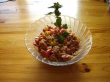 Salat: süß - sauer - pikanter Tomatensalat mit frischen Kräutern aus dem Garten - Rezept