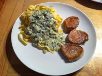 Bärlauch-Gorgonzola-Pasta mit Schweinemedaollons - Rezept