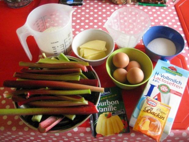 Rhabarberkuchen mit Vanillepudding und Baiser - Rezept - Bild Nr. 2