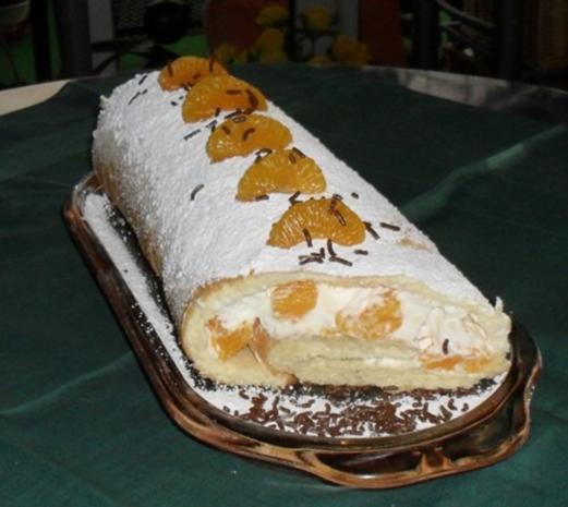Biskuitrolle mit Mandarinen-Sahne-Füllung - Rezept - Bild Nr. 2