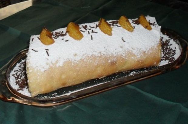 Biskuitrolle mit Mandarinen-Sahne-Füllung - Rezept - Bild Nr. 3