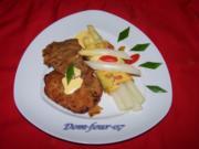 Spargel mit Blitz-Hollandaise ,Schnitzel und Pfannkuchen - Rezept