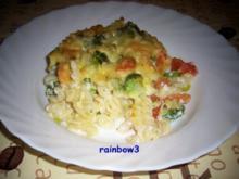 Auflauf: Nudeln mit Gemüse und Garnelen - Rezept
