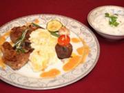 Lammkoteletts und türkische Hackbällchen mit Kartoffelgratin und Tortellini - Rezept