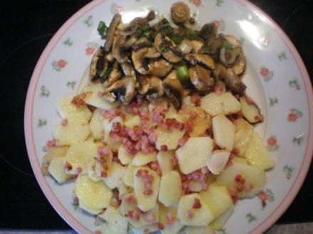 Bratkartoffeln mit Schinken und Pilzgemüse - Rezept