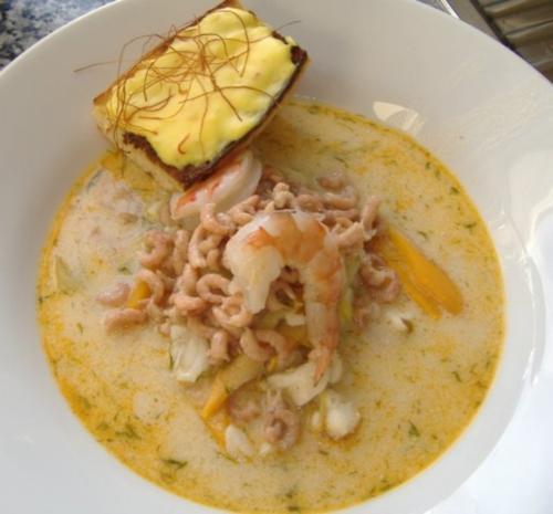 Sylter Fischsuppe mit Safranbaguette - Rezept