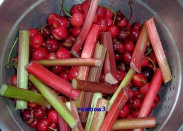 Einmachen: Süßkirsch-Rhabarber-Gelee und -Sirup - Rezept