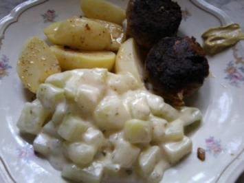 Frikadellen mit Käsefüllung und Rahmkohlrabi - Rezept