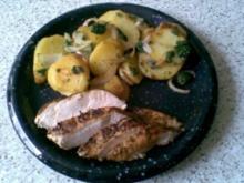 Kräuter-Bratkartoffeln mit Hähnchenstreifen - Rezept