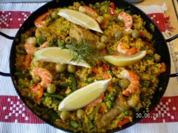 Paella mit Hähnchen und Meeresfrüchte - Rezept