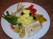 Kabeljau mit Zitronenkartoffelstampf an viel frischem Gemüse - lecker,leichte Sommerkost - Rezept