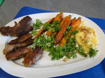 Glasierte Möhrchen mit Kartoffelpü und frischen Bratwürstchen - Rezept