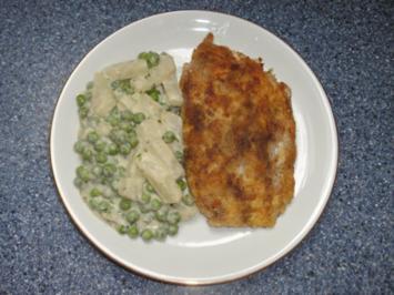 Hähnchen Cordonbleu mit Kohlrabi-Erbsengemüse - Rezept