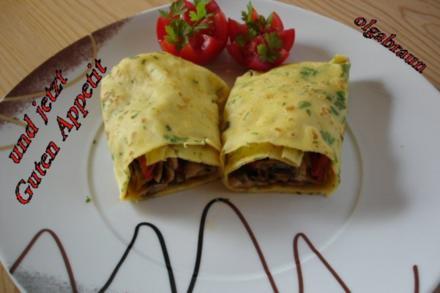 Maismehl-Pfannkuchen mit Champignons - Rezept