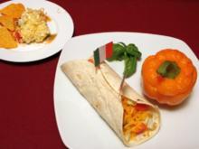 Fajitas mit Rumpsteak, überbackene Paprika mit Reisfüllung und Schichtsalat - Rezept