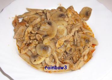 Kochen: Schweinegeschnetzeltes mit Pilzen, Gyros Art - Rezept