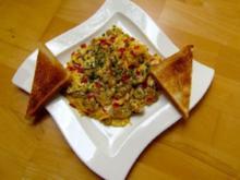 Rührei mit Champignons und Salami - Rezept