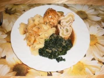 Puten-Zuccini-Röllchen mit Spinat - Rezept