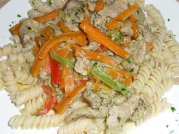 Wok - Schweine- / Gemüsegeschnetzeltes in Bärlauchpestosoße - Rezept