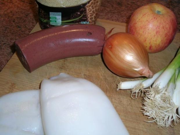 Calamari mit Blutwurstfülle,Tomaten-Couscous,Zwiebellauch-Zitronenmelisseragout - Rezept - Bild Nr. 5