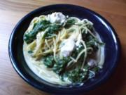 Spaghetti mit Mangold-Knobi-Sahnesoße - Rezept