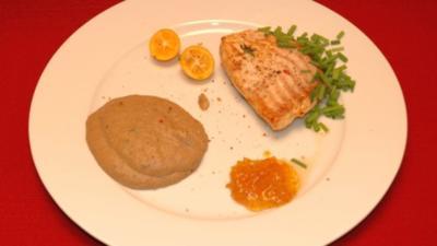 Gebratener Steinbutt mit Kumquat-Marmelade und Steinpilzpüree - Rezept