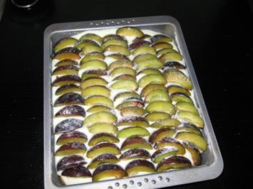 Rezept: Pflaumenkuchen mit Vanillepudding und Streusel (1/2 Backblech)