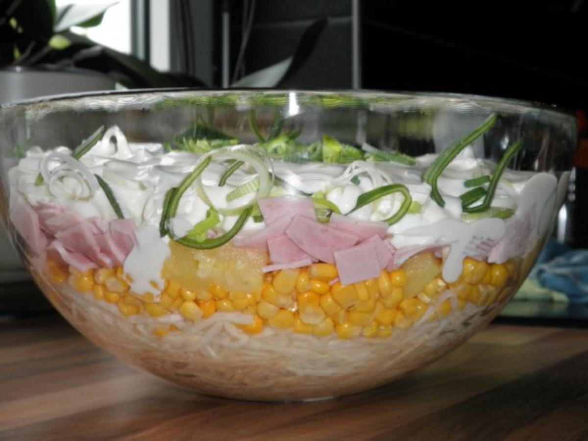 Schichtsalat mit eier hart gekocht und gekochter schinken rezept mit bild - Eier hart kochen ...