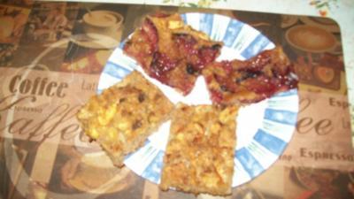 Schneller - Vollkornkuchen mit Apfel - Pflaumen -Belag - Rezept