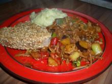 Asia: Thunfisch in Sesam mit Gemüse und Wasabipüree - Rezept