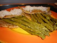 Crespelle mit grünem Spargel und Parmesan - Rezept