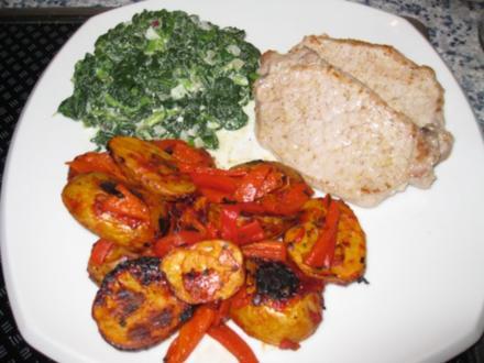 Paprika-Kartoffeln mit Minutensteaks und American-Spinat - Rezept