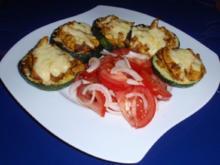 Rondini-Putenstreifen mit Käse überbacken und Tomatensalat - Rezept