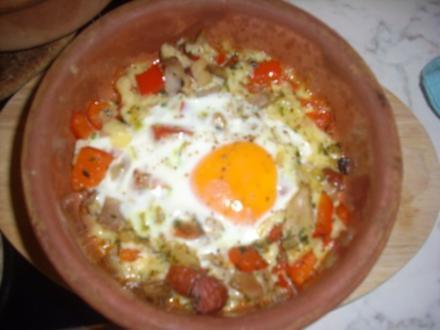Spiegelei auf Hähnchen-Paprikabett - Rezept