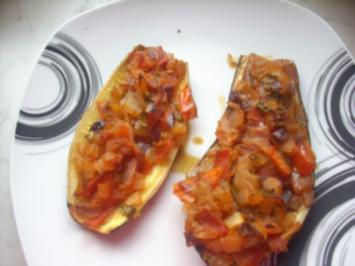 Auberginen und Zucchini gefüllt - Rezept